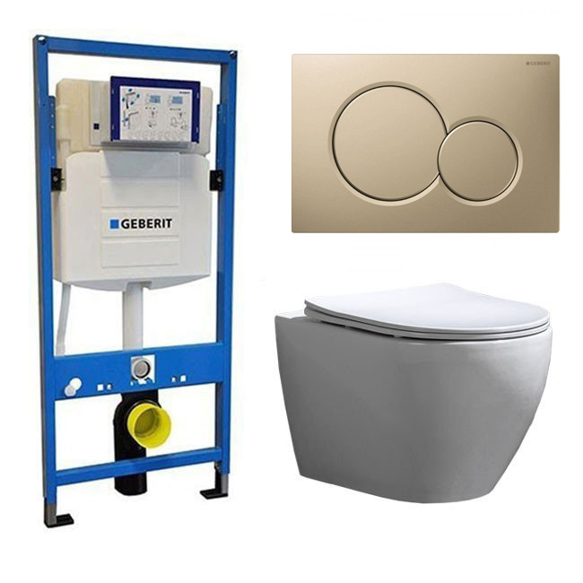 Geberit Toiletset UP 320 Beauti Flatline Rimfree Softclose Quickrelease Toiletbril Sigma 01 Mat Beig