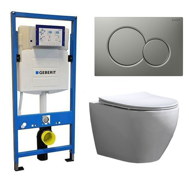 Geberit Toiletset UP 320 Beauti Flatline Rimfree Softclose Quickrelease Toiletbril Sigma 01 Mat Grij