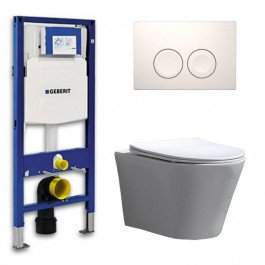 Geberit UP 100 Toiletset - Inbouw WC Hangtoilet Wandcloset - Flatline Saturna Delta 21 Wit