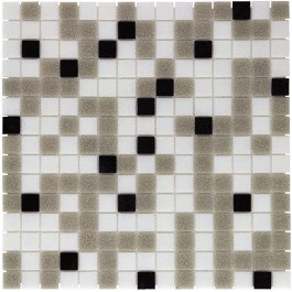 Mozaiektegel Amsterdam White - Grey - Black Mix Soft Grain Glass 322x322