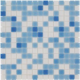 Mozaiektegel Amsterdam Light Blue Mix Soft Grain Glass 322x322