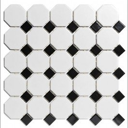 Mozaiektegel Paris White - Black Matt Porcelain 295x295