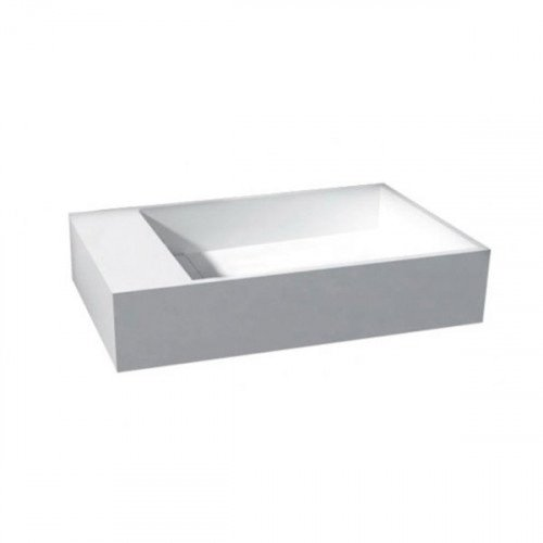 Fontein Solid Surface Wit Rechthoek 36x18x10cm Links