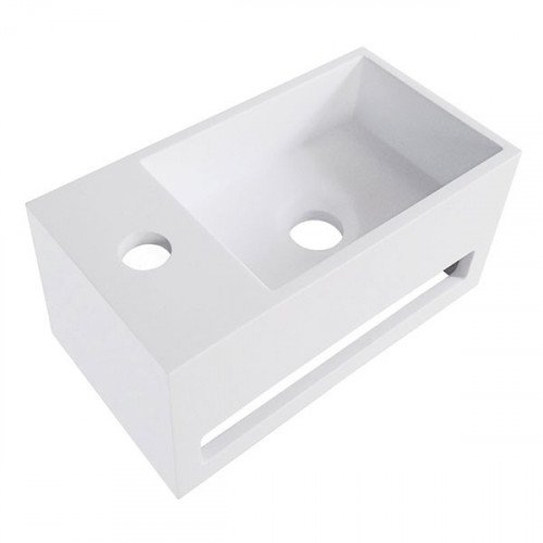 Fontein Toilet Yano - Toiletmeubel Wc Solid Surface - Mat Wit Links 36x16 cm