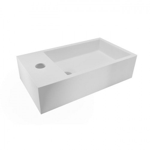 Fontein Toilet Nila - Toiletmeubel Wc Solid Surface - Mat Wit Links 40x22 cm