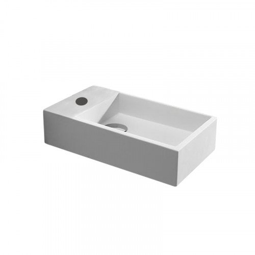 Fontein Toilet - Toiletmeubel Wc Solid Surface - Mat Wit Links 40x22 cm