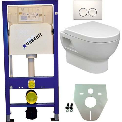 Toiletset Hangend 100-2 Geberit UP100 Inbouwreservoir Glans Wit Wandcloset Softclose Toiletbril Delta-21 Bedieningsplaat Wit
