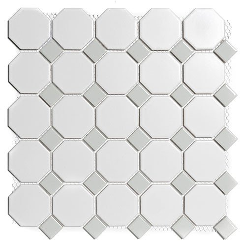 Mozaiektegel Paris White - Grey Matt Porcelain 295x295