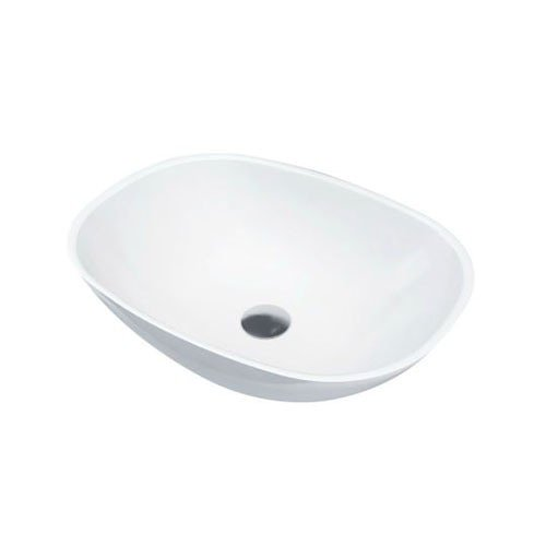 Waskom Opbouw Forza Ovaal 55x40x15cm Solid Surface Mat Wit