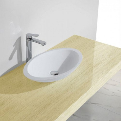 Waskom Opbouw Lucero Ovaal 59x35x11cm Solid Surface Mat Wit