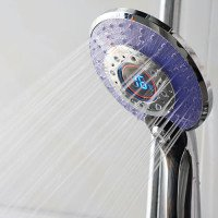 Douchekop/Handdouche Diamond Waterbesparend 130mm 3 standen LED ABS Chroom met Temperatuursensor 5