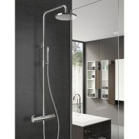 Doucheset Hotbath Buddy Get Together Opbouw 20cm Rond Glans Chroom Thermostaatkraan Glijstang Regendouche en Handdouche