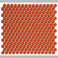 Mozaiektegel Venice Pennyround Orange Glossy Porcelain 315x294