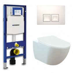 Geberit UP 100 toiletset - Inbouw WC Wandcloset - Creavit Mat Wit Geberit Delta-50 Wit