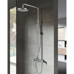 Doucheset Hotbath Friendo Get Together Opbouw 20cm Rond Glans Chroom Thermostaatkraan Glijstang Regendouche en Handdouche