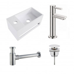 Fonteinset Yano Solid Surface Links 36x20x16cm Toiletkraan Hendel Clickwaste Sifon Chroom