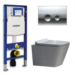 Geberit UP 100 Toiletset - Inbouw WC Hangtoilet Wandcloset -  Flatline Alexandria Delta 21 Glans Chroom