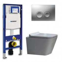 Geberit UP 100 Toiletset - Inbouw WC Hangtoilet Wandcloset - Flatline Alexandria Delta 21 Mat Chroom