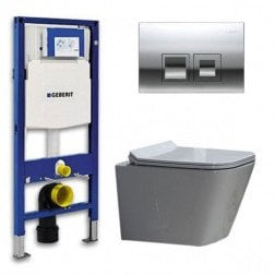 Geberit UP 100 Toiletset - Inbouw WC Hangtoilet Wandcloset - Flatline Alexandria Delta 50 Glans Chroom