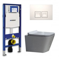 Geberit UP 100 Toiletset - Inbouw WC Hangtoilet Wandcloset - Flatline Alexandria Delta 50 Wit