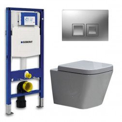 Geberit UP 100 Toiletset - Inbouw WC Hangtoilet Wandcloset - Alexandria Delta 50 Mat Chroom