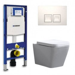 Geberit UP 100 Toiletset - Inbouw WC Hangtoilet Wandcloset - Alexandria Delta 50 Wit
