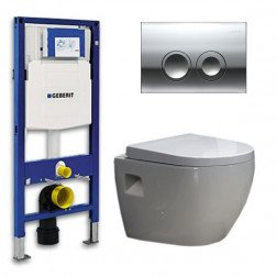 Geberit UP 100 Toiletset - Inbouw WC Hangtoilet Wandcloset - Daley Delta 21 Glans Chroom