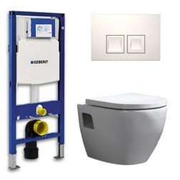 Geberit UP 100 Toiletset - Inbouw WC Hangtoilet Wandcloset - Daley Delta 50 Wit