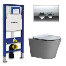 Geberit UP 100 Toiletset - Inbouw WC Hangtoilet Wandcloset- Flatline Saturna Delta 21 Glans Chroom