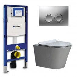 Geberit UP 100 Toiletset - Inbouw WC Hangtoilet Wandcloset- Flatline Saturna Delta 21 Mat Chroom