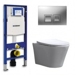 Geberit UP 100 Toiletset - Inbouw WC Hangtoilet Wandcloset- Flatline Saturna Delta 50 Mat Chroom
