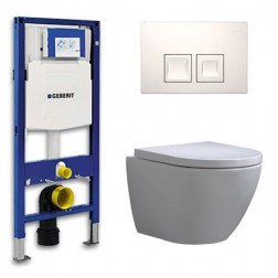 Geberit Up 100 Toiletset – Inbouw WC Hangtoilet Wandcloset - Shorty Delta 50 Wit