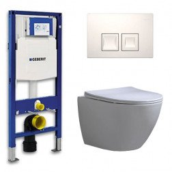 Geberit Up 100 Toiletsets – Inbouw WC Hangtoilet Wandcloset Shorty Flatline Delta 50 Wit