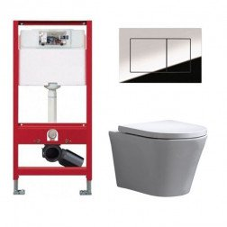 Tece Toiletset - Inbouw WC Hangtoilet wandcloset - Saturna Tece Now Glans Chroom