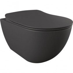 Toiletpot Hangend Creavit 51x35.5x29cm Mat Antraciet met Softclose Toiletbril Rimfree