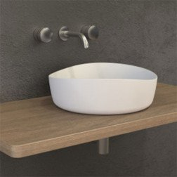 Waskom Opbouw Ideavit Solidharmony Ovaal 40x40x13cm Solid Surface Mat Wit
