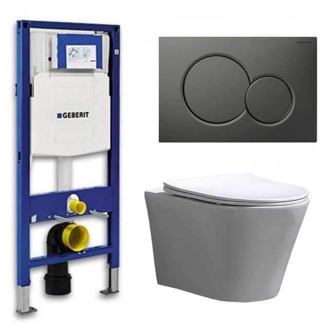 Geberit UP 320 Toiletset - Inbouw WC Hangtoilet Wandcloset - Saturna Flatline Sigma-01 Mat Antraciet