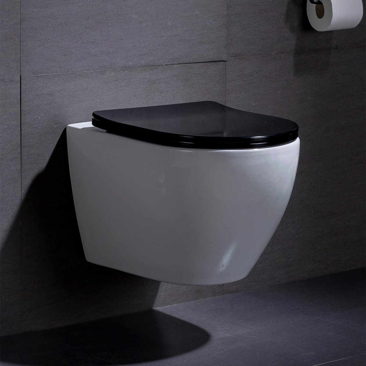 Wandcloset - Hangend Toilet Beauti Flatline Zwart - Inbouwtoilet Rimfree WC Pot