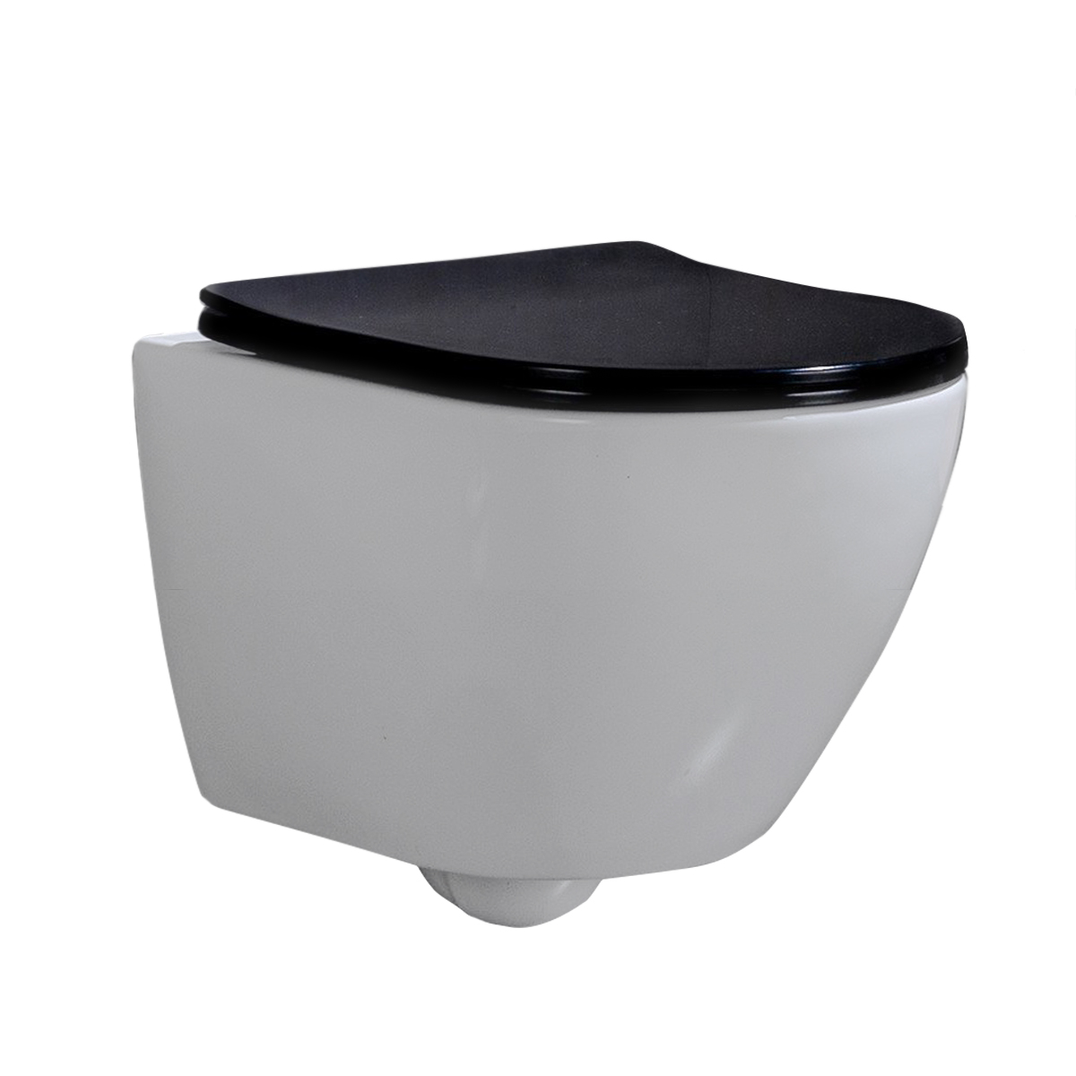 Wandcloset - Hangend Toilet Shorty Flatline Zwart - Inbouwtoilet Rimfree WC Pot