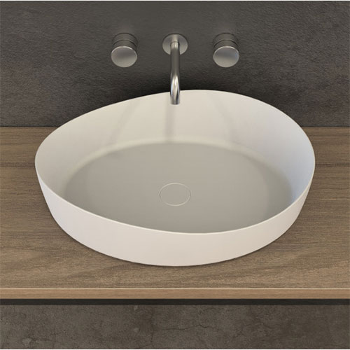 Waskom Opbouw Ideavit Solidharmony Ovaal 60x44x15.5cm Solid Surface Mat Wit